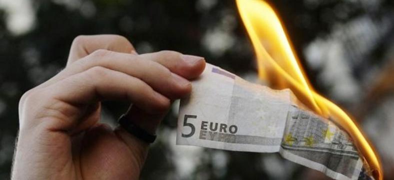 billet euro brulé