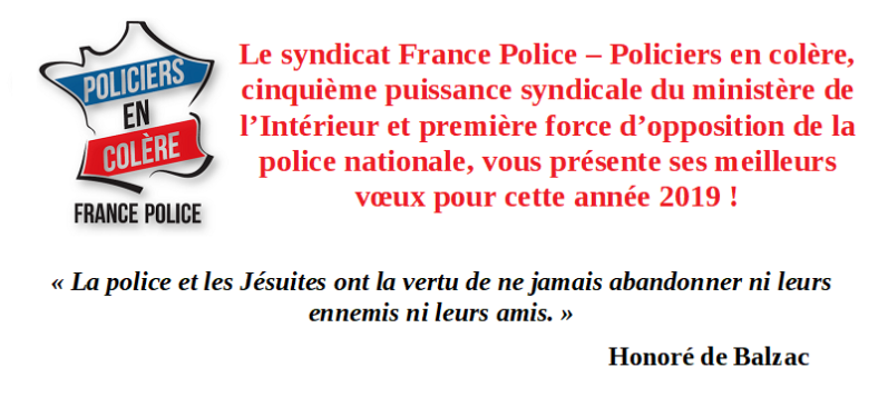 carte de voeux 2019 france police policiers en colere