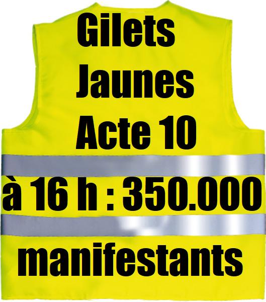estimation participation acte 10 gilets jaunes 19 janvier 2019