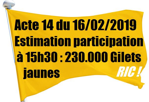 acte 14 gilets jaunes estimation de la participation manifestation 16 février 2019.png