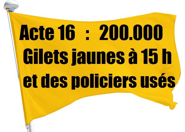 acte 16 gilets jaunes participation manifestation chiffres mobilisation