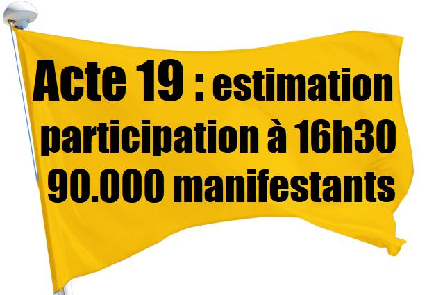 ACTE 19 gilets jaunes estimation de la participation 90000 manifestants