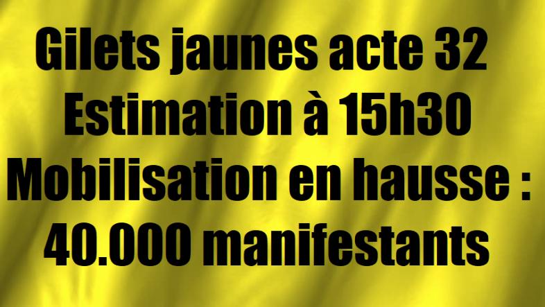 acte 32 Gilets jaunes mobilisation estimation de la participation