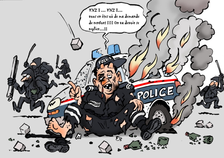 police nationale agression émeute attaque racaille voyous