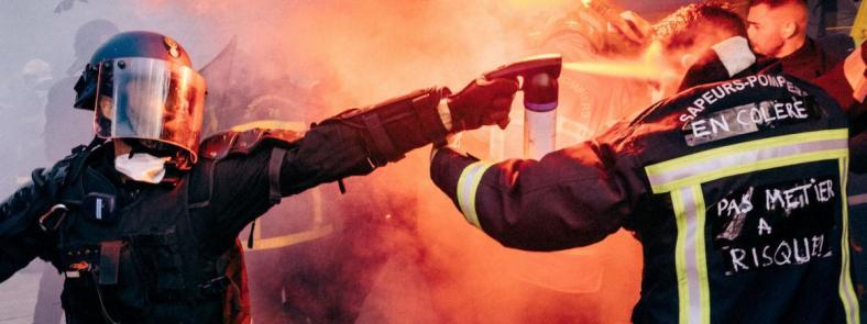 pompiers policiers gendarmes manifestation 15 octobre violences gaz macrymogène