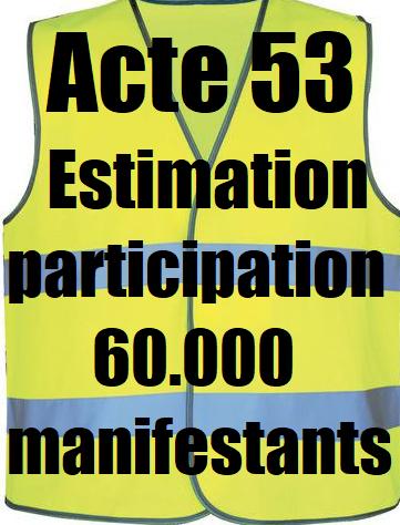 foto de Estimation de la participation à l acte 53 des Gilets