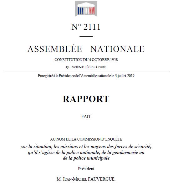 Rapport assemblée nationale police nationale gendarmerie nationale commission d'enquête parlementaire