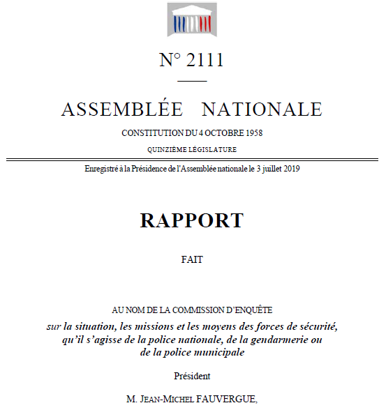Rapport assemblée nationale police nationale gendarmerie nationale commission d'enquête parlementaire