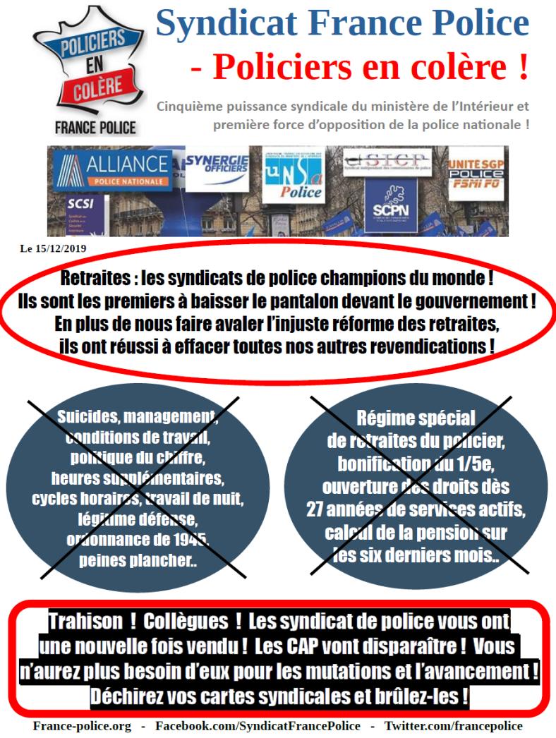 lettre christophe castaner retraites police nationale syndicat de police trahison