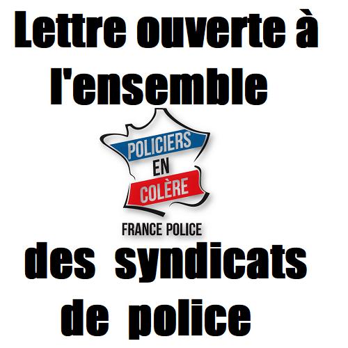 lettre ouverte syndicat de police gendarmerie policiers police nationale alliance unsa unité sgp police fo.png