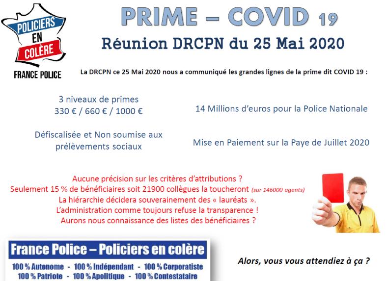 prime covid 19 police policiers gendarmes infirmières personnels soignants coronavirus