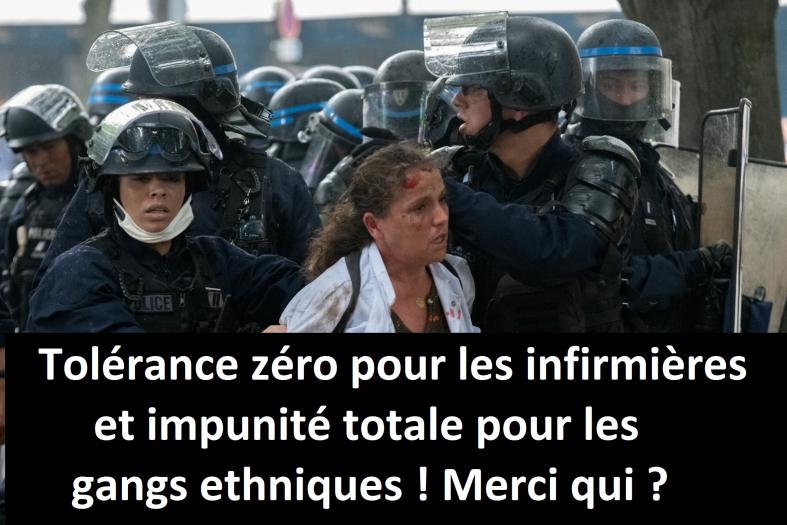 infirmières policiers manifestations policiers en colère personnel soignant maintien de l'ordre